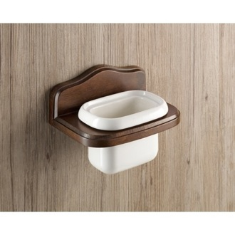 Toothbrush Holder Wall Mounted Porcelain Toothbrush Holder With Wood Mounting 8110-95 Gedy 8110-95