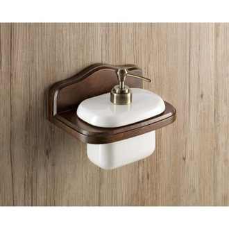 Soap Dispenser Wall Mounted Porcelain Soap Dispenser with Wood Mounting Gedy 8181-95