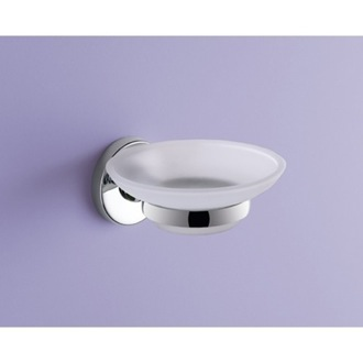Wall Mounted Frosted Glass Soap Dish With Chrome Mounting Gedy FE11-13