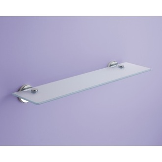 Bathroom Shelf Frosted Glass Bathroom Shelf With Chrome Holders Gedy FE19-55-13