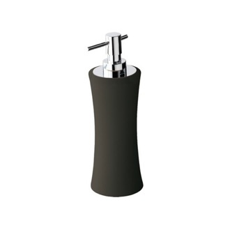 Soap Dispenser Soft Touch Anthracite Ceramic Pottery Rounded Soap Dispenser Gedy MU80-85