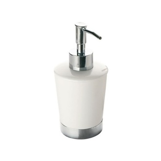 Soap Dispenser Round White Soap Dispenser With Stainless Steel Base Gedy PE81