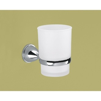 Wall Mounted Frosted Glass Toothbrush Holder With Chrome Mounting Gedy GE10-13