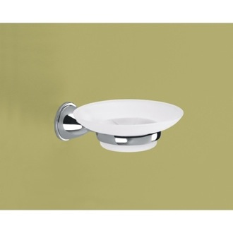 Wall Mounted Frosted Glass Soap Dish With Chrome Mounting Gedy GE11-13
