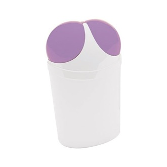 Waste Basket Free Standing Waste Basket With Cover in White and Lilac Finish 1109-49 Gedy 1109-49