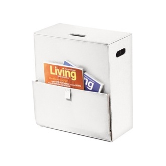 White Laundry Basket with Magazine Holder Gedy 1536-02
