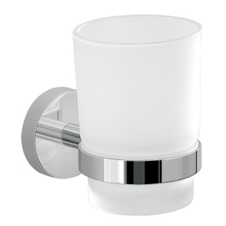 Frosted Glass Toothbrush Holder With Chrome Wall Mount Gedy 2310-13