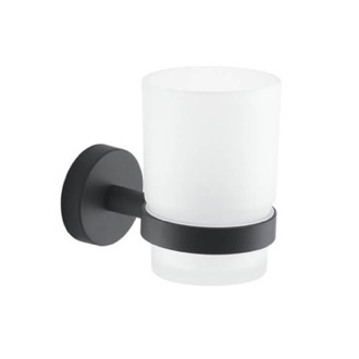 Frosted Glass Toothbrush Holder With Matte Black Wall Mount Gedy 2310-14