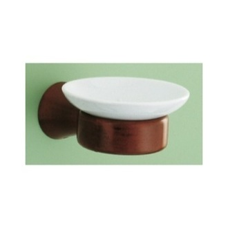 Soap Dish Wall Mounted Ceramic Soap Dish with Mahogany Mounting Gedy 2311-20