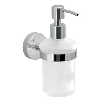 Frosted Glass Soap Dispenser With Wall Mount Gedy 2381-13