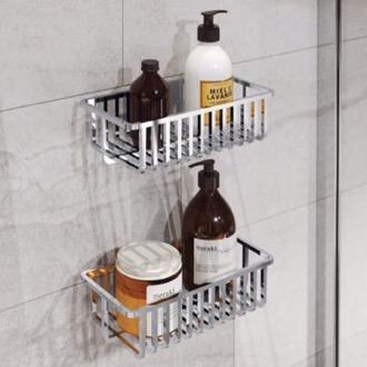 Set of Wall Mounted Chrome Shower Baskets Gedy 2416B-13