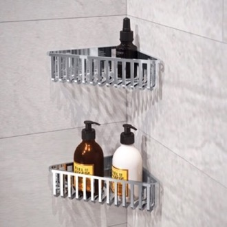 Set of Chrome Corner Shower Baskets Gedy 2478B-13