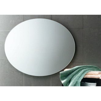 30 x 22 Inch Round Wall Mounted Vanity Mirror Gedy 2575-13