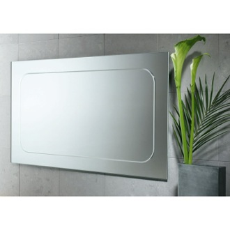 39 x 23 Inch Vanity Mirror with Engraved Border Gedy 2597-13