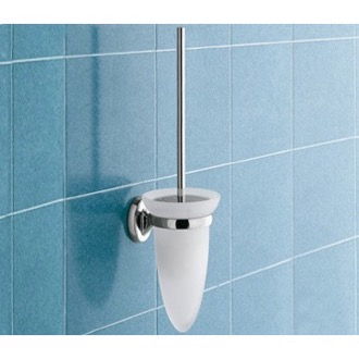 Toilet Brush Wall Mounted Cone Shaped Frosted Glass Toilet Brush Holder 3033-03-13 Gedy 3033-03-13