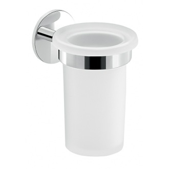 Frosted Glass Toothbrush Holder With Adhesive Chrome Mounting Gedy 3610-13