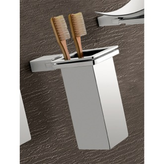 Wall Mounted Square Polished Chrome Toothbrush Holder Gedy 3810-01-13