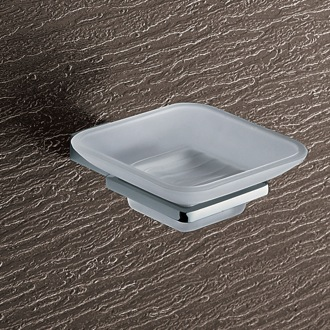 Wall Mounted Frosted Glass Soap Dish With Chrome Mounting Gedy 3811-13