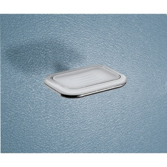 Soap Dish Wall Mounted Frosted Glass Soap Dish With Two Tone Chrome Holder Gedy 4311-21