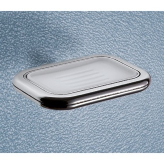 Soap Dish Wall Mounted Frosted Glass Soap Dish With Polished Chrome Holder 4311-13 Gedy 4311-13