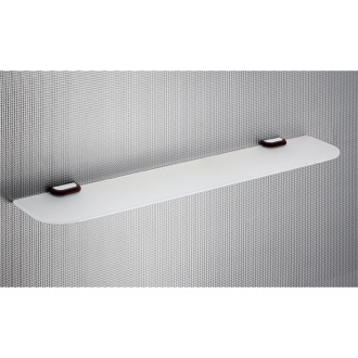 Bathroom Shelf Rectangle Frosted Glass Bathroom Shelf With Wenge Wood Clips 4319-60-19 Gedy 4319-60-19