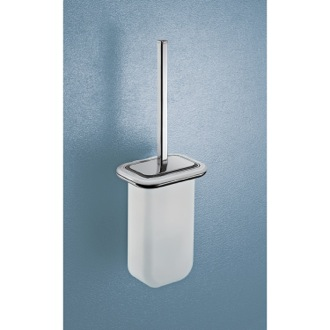 Wall Mounted Frosted Glass Toilet Brush with Two Tone Chrome Frame Gedy 4333-03-21