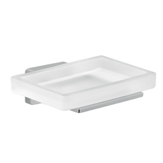 Frosted Glass Soap Dish With Chrome Mounting Gedy 4411-13