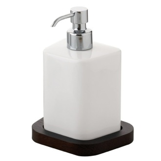 Soap Dispenser White Free Standing Soap Dispenser with Wenge Base 4555-19 Gedy 4555-19