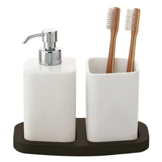 Bathroom Accessory Set White Soap Dispenser and Tumbler Combo Gedy 4599-19