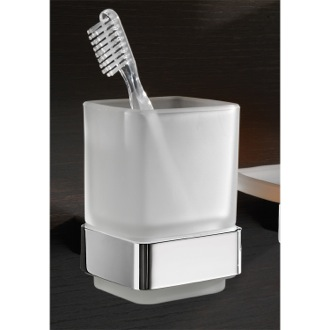 Wall Mounted Frosted Glass Toothbrush Holder With Chrome Mounting Gedy 5410-13