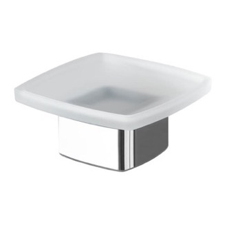 Square Frosted Glass Soap Dish with Polished Chrome Base Gedy 5451-13