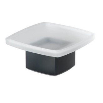 Square Frosted Glass Soap Dish with Matte Black Base Gedy 5451-M4