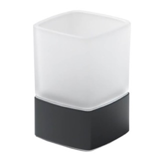 Square Frosted Glass Toothbrush Holder With Matte Black Base Gedy 5498-M4