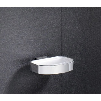 Soap Dish Wall Mounted Frosted Glass Soap Dish With Chrome Holder 5511-13 Gedy 5511-13