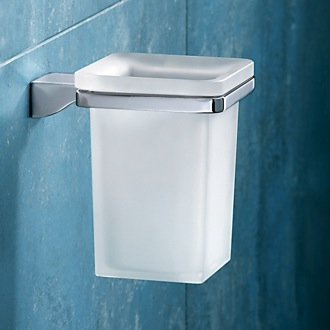 Wall Mounted Square Frosted Glass Toothbrush Holder With Chrome Mounting Gedy 5710-13