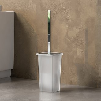 Square White Glass Toilet Brush Holder Gedy 5733-02