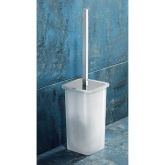 Toilet Brush Square White Glass Toilet Brush Holder Gedy 5733-02