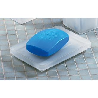 Soap Dish Square Frosted Glass Soap Holder Gedy 5751-02