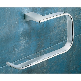 Square Polished Chrome Towel Ring Gedy 5770-13