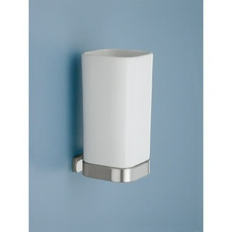 Matte White Toothbrush Holder with Satin Nickel Wall Mount Gedy 6110-S2