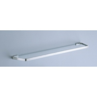 Bathroom Shelf 24 Inch Frosted Glass Bath Shelf with Satin Nickel Wall Mounts 6119-60-40 Gedy 6119-60-40