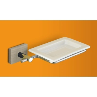 Soap Dish White Soap Dish with Chrome and Cherry or Washed Oak Wood Wall Mount 6611 Gedy 6611