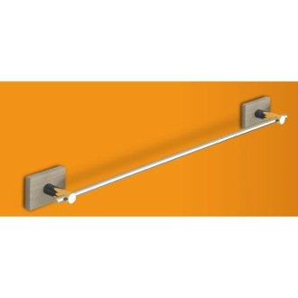Towel Bar Chrome 18 Inch Towel Bar with Cherry or Washed Oak Wood Wall Mount 6621-45 Gedy 6621-45