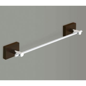 Towel Bar Chrome 12 Inch Towel Bar With Wood Base 6621-30-19 Gedy 6621-30-19