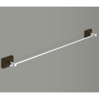 Towel Bar Chrome 24 Inch Towel Bar With Wood Base 6621-60-19 Gedy 6621-60-19