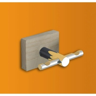 Bathroom Hook Chrome Double Robe Hook with Cherry or Washed Oak Wood Wall Mount 6626 Gedy 6626