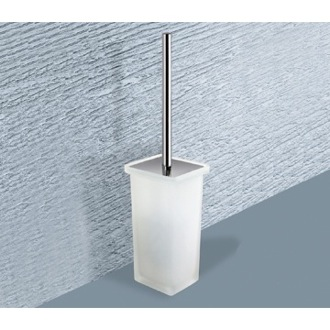 Toilet Brush Square Frosted Glass Toilet Brush Holder 6633-S2 Gedy 6633-S2