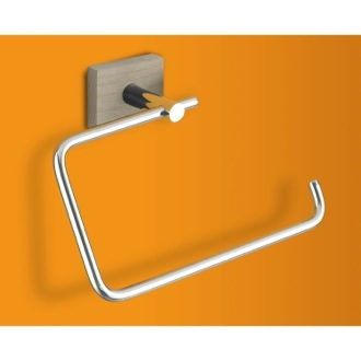 Towel Ring Chrome Towel Ring with Washed Oak Wood Wall Mount 6670-26 Gedy 6670-26
