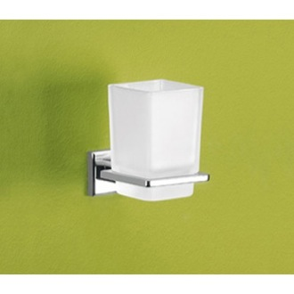 Wall Mounted Frosted Glass Toothbrush Holder Gedy 6910-13