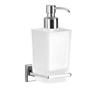 Wall Mounted Frosted Glass Soap Dispenser With Chrome Mounting Gedy 6981-13